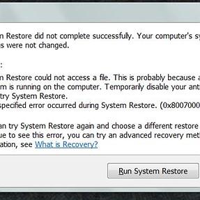 W7 System Restore still fails