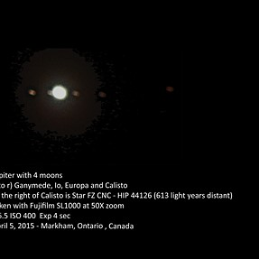 Jupiter, 4 Moons and a Star