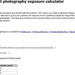 Question Using Exposure Calculator / Light Metre