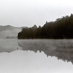 misty morning and inner tube
