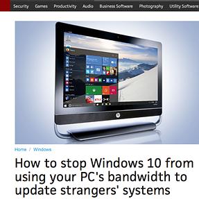 Windows 10: P2P bandwidth sharing ON by default