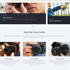 """Sony has a dedicated A-Mount section for """"cameras"""" on their revised US website."""