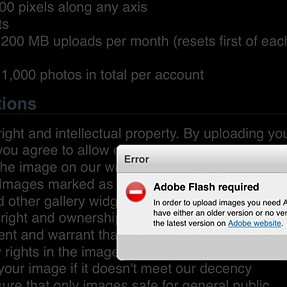 Flash required for picture uploading from iOS devices