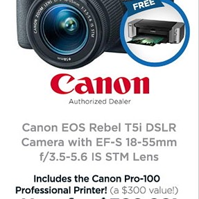 A heck of a deal on Rebel T5i with 18-55 STM+ printer and other stuff