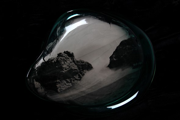 Artist Emma Jaubert Howell prints photos onto hand-blown glass